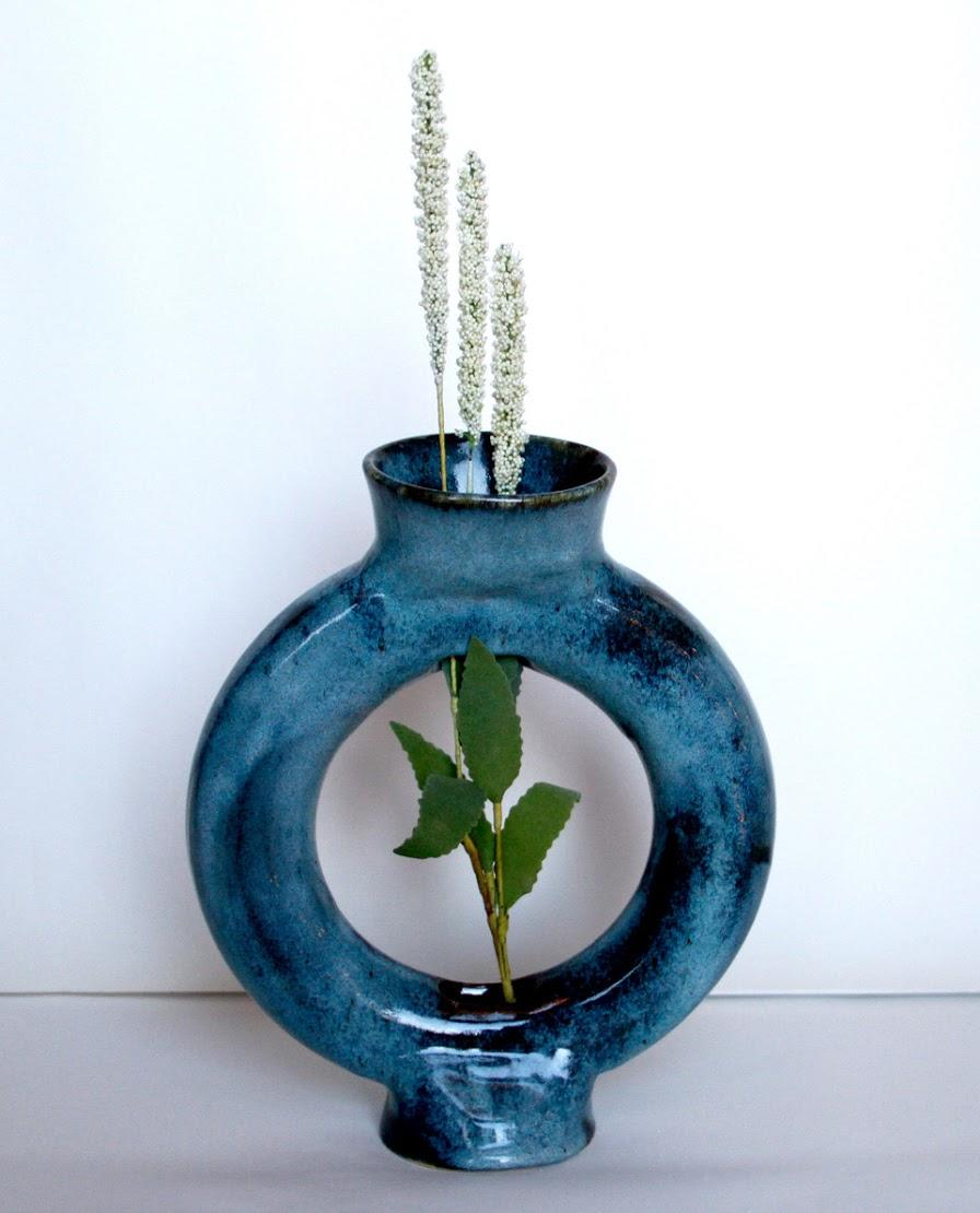 Azure Peculiar Flower Vase
