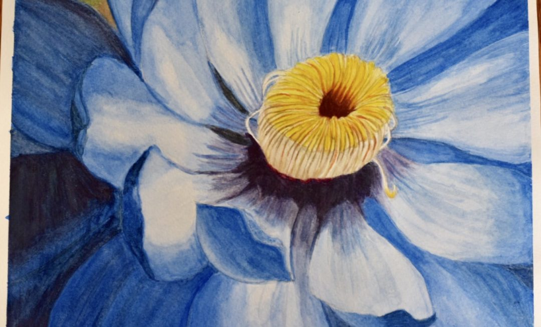 Blue Watercolor Flower