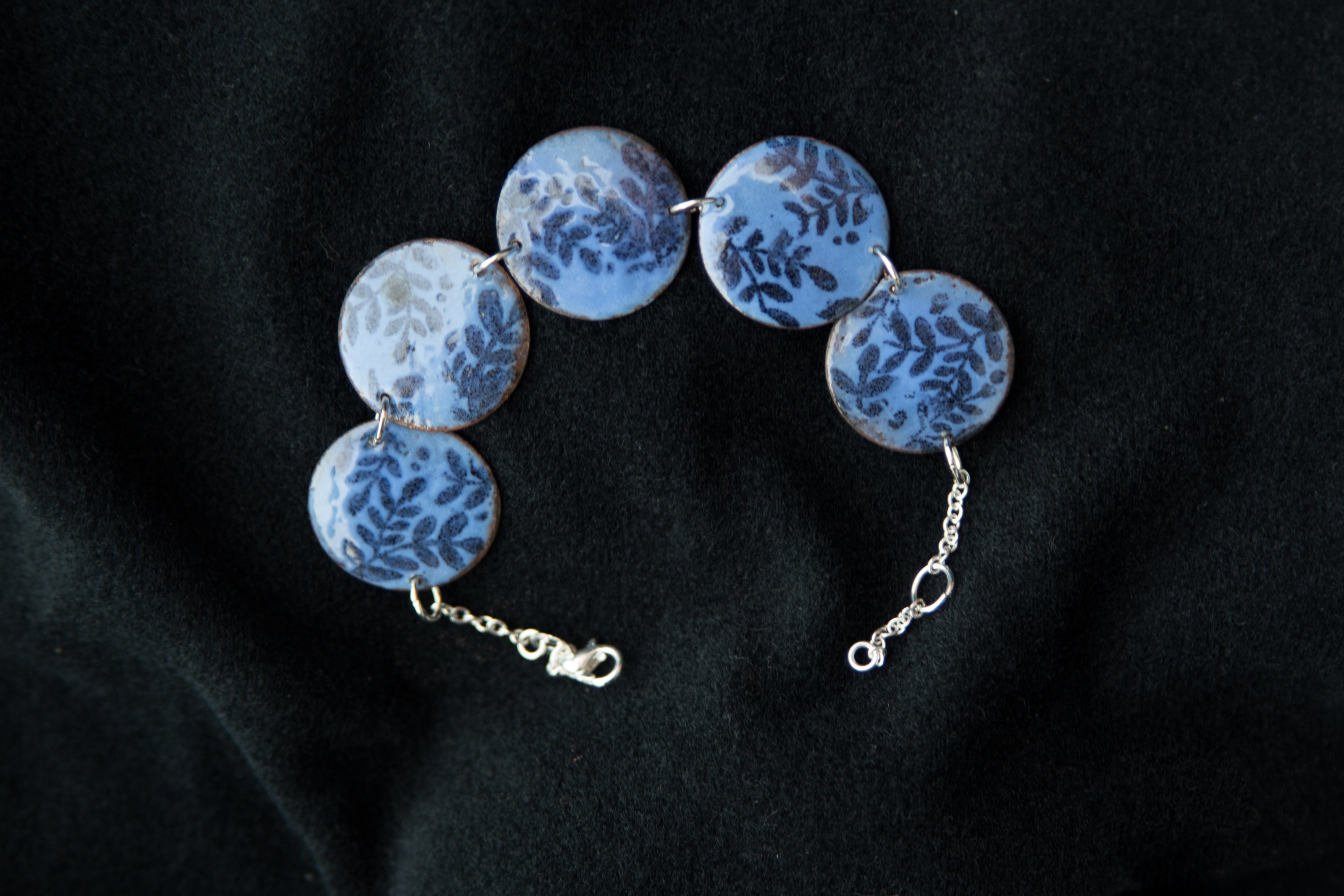 Hand crafted glass enamel bracelet