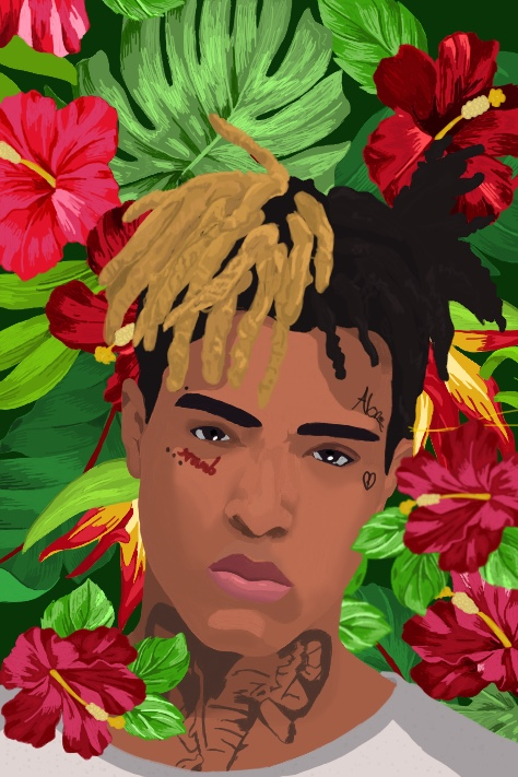 xxxtentacion in the style of Kehinde Wiley